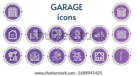 Editable 14 garage icons for web and mobile. Set of garage included icons line Garage, Real estate, Mechanics, Mechanic, Pickup truck, Hangar, Smart home, Mortgage, Tracing wheel
