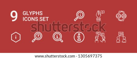 Editable 9 glyphs icons for web and mobile. Set of glyphs included icons line Conversation, Information, Conversion, Anchor point on red background