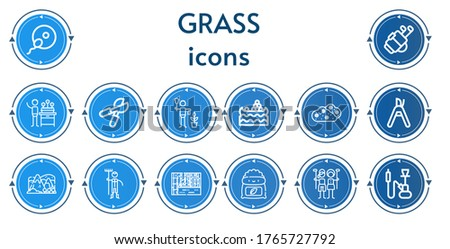editable 14 grass icons for web