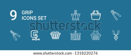 Editable 9 grip icons for web and mobile. Set of grip included icons line Tooth pliers, Basket, Shopping basket, Clamp, Plier, Pliers on blue background