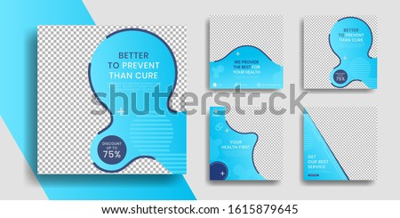 Editable Healthcare social media post template with cover blue,instagram story collection and post frame. Collage. Giveaway. layout. Mockup. cover. banner. Social networking background. square puzzle