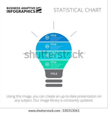 Editable infographic template of statistic chart in form of glowing lightbulb, blue and green version