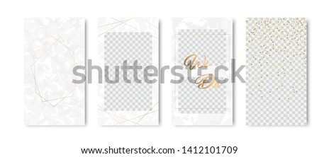 Editable instagram stories template set of marble texture backgrounds with gold frames. Vector illustraton pack