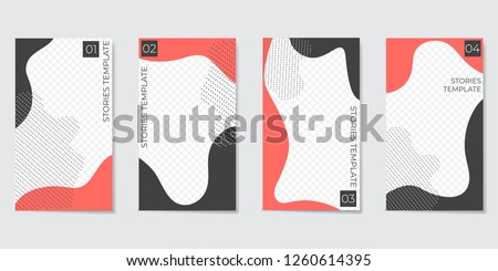 Editable Instagram template for Stories and Streaming. With trendy geometric shapes in black and coral color. Vector illustration
