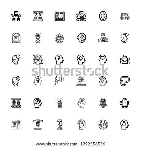Editable 36 intelligence icons for web and mobile. Set of intelligence included icons line Mind, Cap, Imagination, Robotics, Robot arm, Robot, Mechanical arm on white background #1292556556