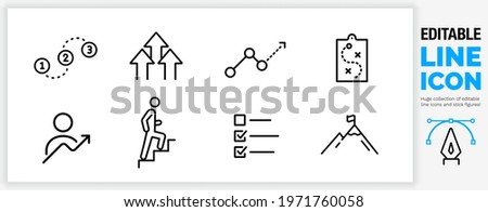 Editable line icon in a outline black stroke in eps vector of getting better at a job or general personal progress in life improving and learning by doing something climbing up for ambition and growth