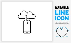Editable line icon of a digital phone connected to a server in the cloud with an arrow up and down for download and upload to the data on the smart device in a black stroke as a eps vector file