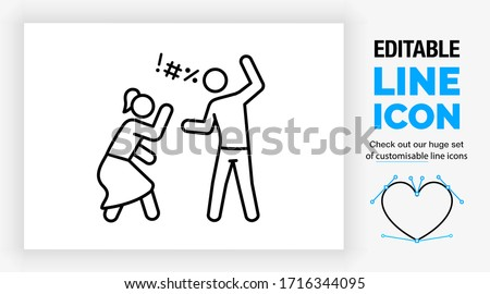 Editable line icon of a married stick figure couple in domestic violence and verbal abuse by cursing because the man is being violent and the woman scared for being hurt in a black stroke vector eps Сток-фото ©