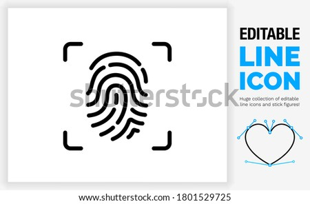 Editable line icon of a simple futuristic finger print scanner used for privacy and modern security identification in a customisable black thin stroke weight as a eps vector graphic Foto d'archivio ©