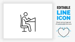 Editable line icon of a stick figure working at his desk as a illustration designer or architect sitting in a chair in full body view drawing with a pencil at his job as a outline graphic design eps