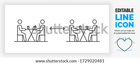 Editable line icon of two groups of stick figure people sitting at a table of a bar, cafe or restaurant keeping social distance to prevent spread of corona or Covid 19 virus as a outline eps vector