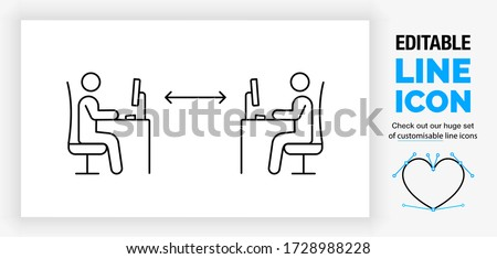 Editable line icon of two stick figure people working at their work desk with a computer in a office with social distance to prevent infection with the corona virus or covid 19 in a outline eps vector