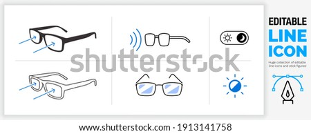 Editable line icon set in a black outline stroke weight and flat fill style about bluelight filter glasses to reflect harmful computer or mobile device  screen light shining in your eye in eps vector Foto stock ©