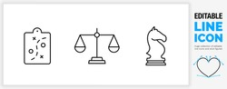 Editable line icon set in a black stroke of strategy symbols as a game plan clipboard, a law and order scale used by the justice system and a chess horse piece as a clean eps vector graphic design