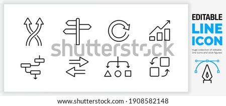 Editable line icon set in a black stroke weight about business direction and change of vision in a company making a choice about the way your strategy is leading as simple and clean outline vector eps