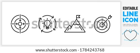 Editable line icon set of a business strategy symbol set for personal focus, creative thinking, brainstorm session, ambition, goal and target practice as a customisable black stroke eps vector graphic