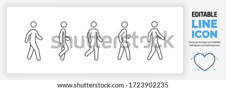 Editable line icon set of a stickman or stick figure walking in different poses in a dynamic outline graphic design style standing on both or one leg in side and front full body view as a eps vector