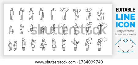 Editable line icon set of outline male and female stick figures standing in different poses with children as a toolkit collection for infographic design in a black stroke as a eps vector pictogram