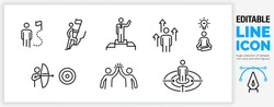 Editable line icon set of stick figure character in black outline illustration about people reaching their ambition and goal by achieving the next step in their career going up and doing it together