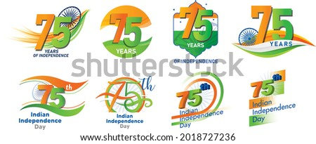 Editable logo vectors of the 75th Independence Day of India 15 th of August. For T shirt Design For print media.