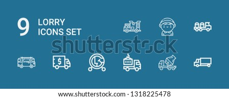 Editable 9 lorry icons for web and mobile. Set of lorry included icons line Delivery truck, Cement truck, Vehicle, Truck, Minibus, Delivery man on blue background