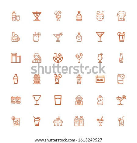 Editable 36 martini icons for web and mobile. Set of martini included icons line Cocktail, Alcoholic drink, Bar, Drink, Vodka, Ice coffee, Drinks, Shaker, Barman on white background