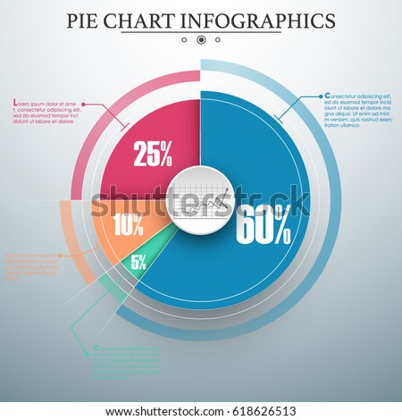 Editable modern colorful business pie chart for Your documents, reports, presentations and infographic. Material design.
