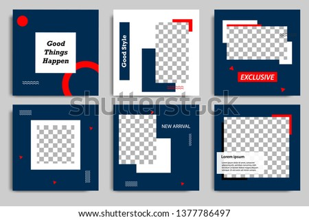 Editable modern minimal square banner templates. Blue indigo, red, black and white background color with stripe line shape. Suitable for social media post and web/internet ads with photo college.
