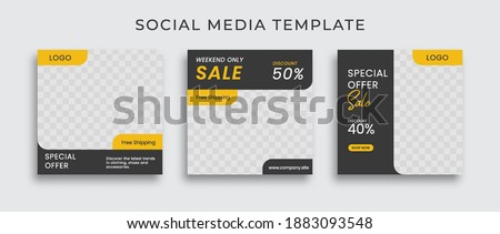 Editable modern Social Media banner Template. Anyone can use This Design Easily. Promotional web banner for social media with black and yellow color. Elegant sale and discount promo - Vector.