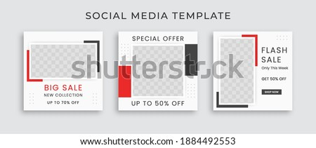 Editable modern Social Media banner Template. Anyone can use This Design Easily. Promotional web banner for social media with black and red color. Elegant sale and discount promo - Vector.
