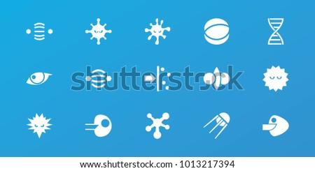 Editable 15 molecule icons: bacteria, core, atom interaction, atom