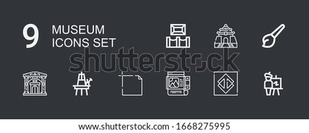 Editable 9 museum icons for web and mobile. Set of museum included icons line Easel, Sao paulo, Frame, Art, Museum, Memorial hall on dark background