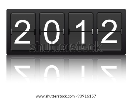 editable 2012 new year on mechanical scoreboard