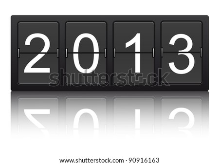 editable 2013 new year on mechanical scoreboard