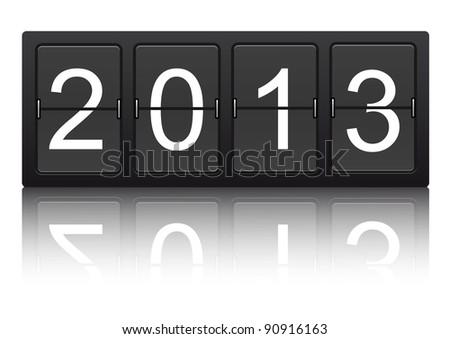 editable 2013 new year on mechanical scoreboard