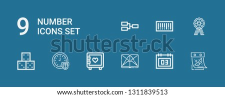Editable 9 number icons for web and mobile. Set of number included icons line Calendar, Section, Strongbox, Time, Dice, Medal, Barcode, Competition on blue background
