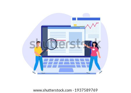 Editable online document. Blogger, copywriter or journalist concept. Editor work. Creative writing and storytelling, copywriting . Online education, distant learning. Vector illustration. Photo stock ©