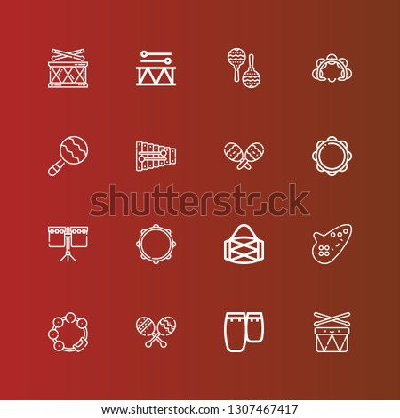 Editable 16 percussion icons for web and mobile. Set of percussion included icons line Drums, Conga, Maracas, Tambourine, Ocarina, Drum, Xylophone, Maraca on red