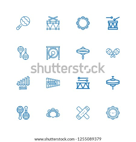 Editable 16 percussion icons for web and mobile. Set of percussion included icons line Tambourine, Clave, Maracas, Cymbals, Drum, Xylophone, Cymbal, Gong, Maraca on white background