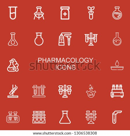 Editable 22 pharmacology icons for web and mobile. Set of pharmacology included icons line Test tube, Flask, Painkiller, Tube, Test tubes, Blood test, Tubes on red background
