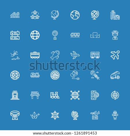 Editable 36 plane icons for web and mobile. Set of plane included icons line Seatbelt, Plane, Earth globe, Graphene, Origami, Belt, World, Medical appointment on blue background