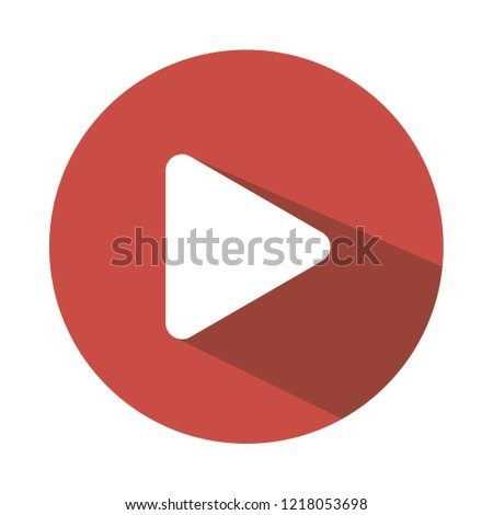 editable play button vector icon, flat style, modern design, red and white color