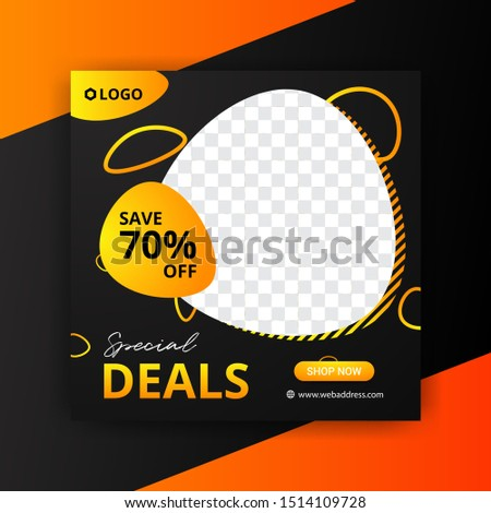 Editable Post Template Social Media Banners and feed post, sale promotion and digital marketing, Trendy background design for instagram ads. eps10 vector.