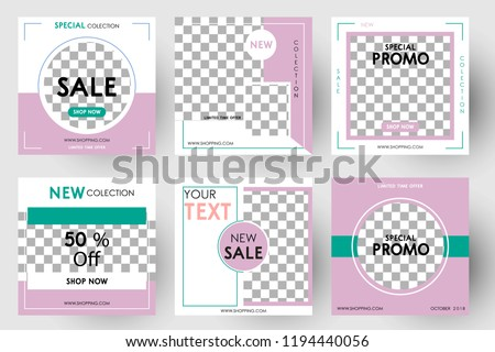 Editable Post Template Social Media Banners for Digital Marketing. Color Pink Green. Promo Brand Fashion. Vector Illustration