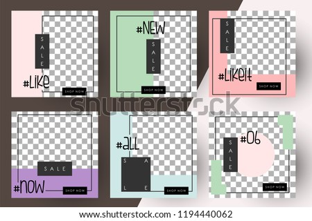 Editable Post Template Social Media Banners for Digital Marketing. Promo Brand Fashion. Stories. Streaming. Vector Illustration #1194440062