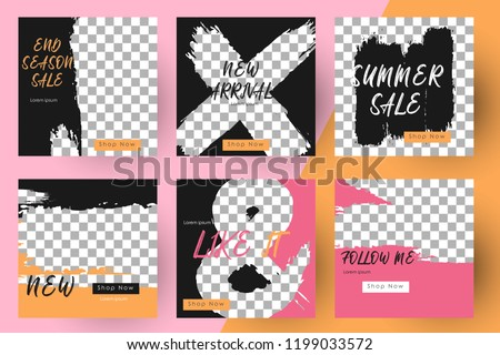 Editable Post Template Social Media Banners for Digital Marketing. Promo Brand Fashion. Stories. Streaming. Vector Illustration #1199033572