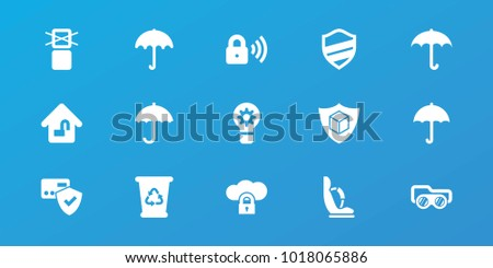 Editable 15 protect icons: umbrella, recycle bin, card protection, cargo only in box allowed, cargo insurance, cloud protection, home lock, security lock, baby seat in car