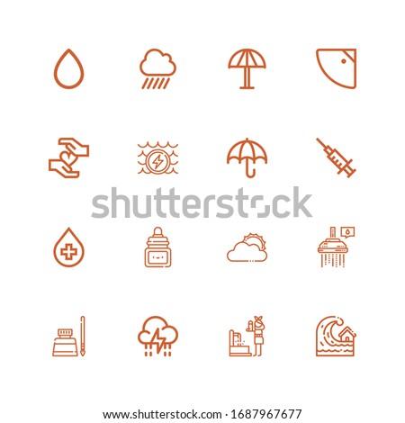 editable 16 rain icons for web