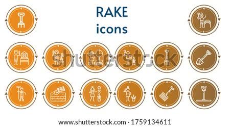 editable 14 rake icons for web