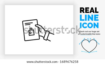 Editable real line icon of a business person giving a paper file with his hand with text on it and a puzzle piece symbol in modern black lines on a clean white background as a EPS vector document
